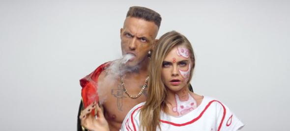 Supermodel Cara, features in the Ugly Boy video with Ninja.