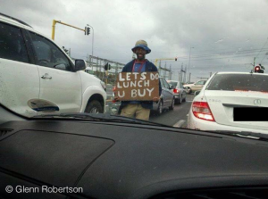 Beggar with humour