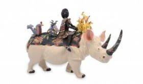 This piece pays tribute to Ardmore's first artist Bonnie Ntshalintshali. Here she is depicted as a Zulu maiden riding a black rhino. (Image: Ardmore Ceramics)