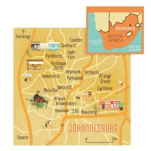 Map of Joburg, South Africa. Source: Conde Nast Traveller