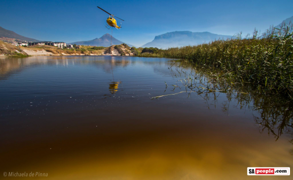 Helicopter Dipping into the Disa River, Hout Bay, this morning