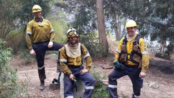 "Photo: FB/Volunteer Wildfire Services - ""Some of our members taking a quick break to rest and refuel during their shift."""