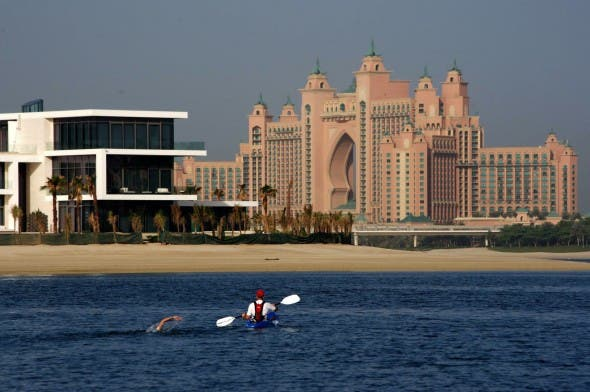 Photo: Simon Lam. Mitch nearing Atlantis to become youngest to swim Palm Jumeirah