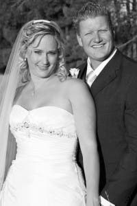 Jade & Ryan Ruthven on their wedding day in South Africa.