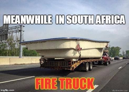 South African joke about the firepool - fire truck