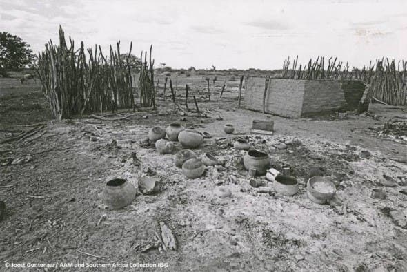 © Joost Guntenaar/ AAM and Southern Africa Collection IISG. Village bombed by SADF, south Angola 1981