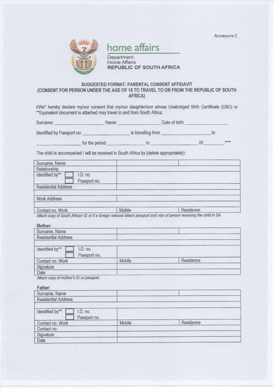 Home Affairs South Africa  Free Child Travel Consent Form Template
