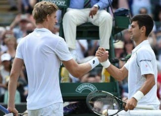 Kevin Anderson and Novak Djokovic at Wimbledon