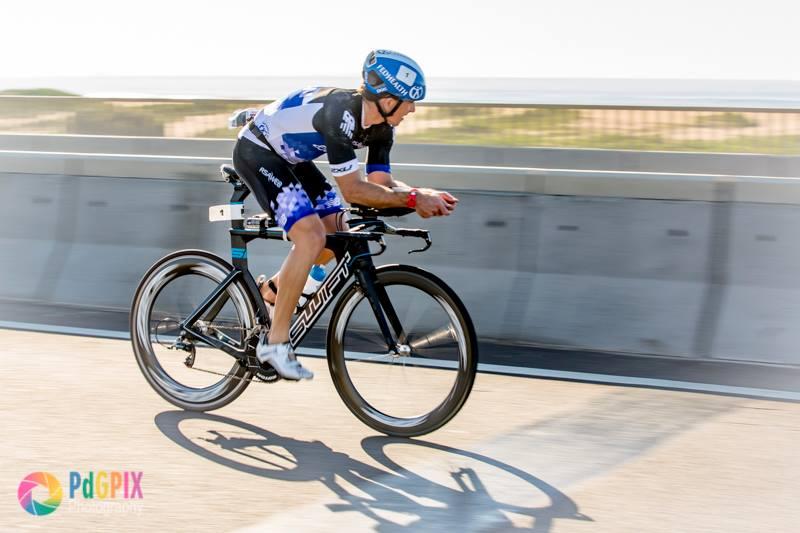 """Peter de Groot - """"Stuart Marais - first ever Standard bank IRONMAN 70.3 Durban champion - cycle"""""""