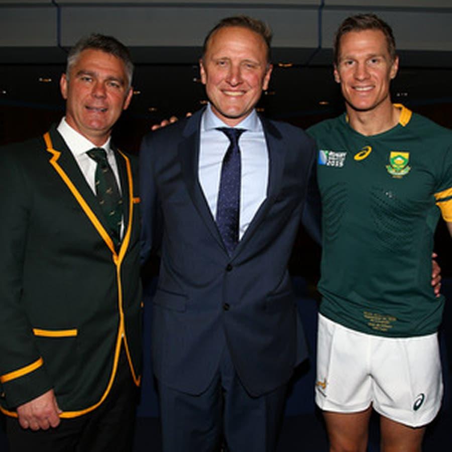 Springbok coach Heyneke Meyer, Former Protea fast bowler, Allan Donald, and Springboks captain Jean de Villiers.