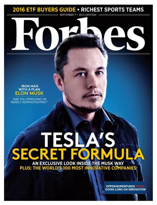 Elon Musk on Forbes cover