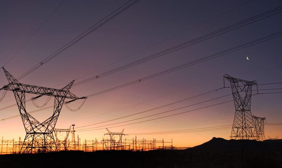 Beaufort West, Western Cape province: Electricity pylons.