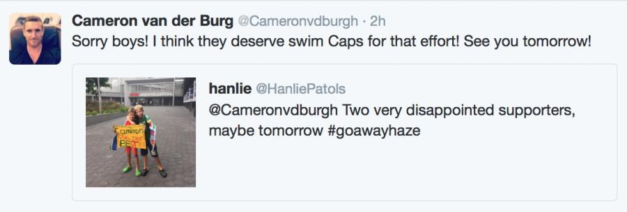 Cameron van der Burgh tweet to fans