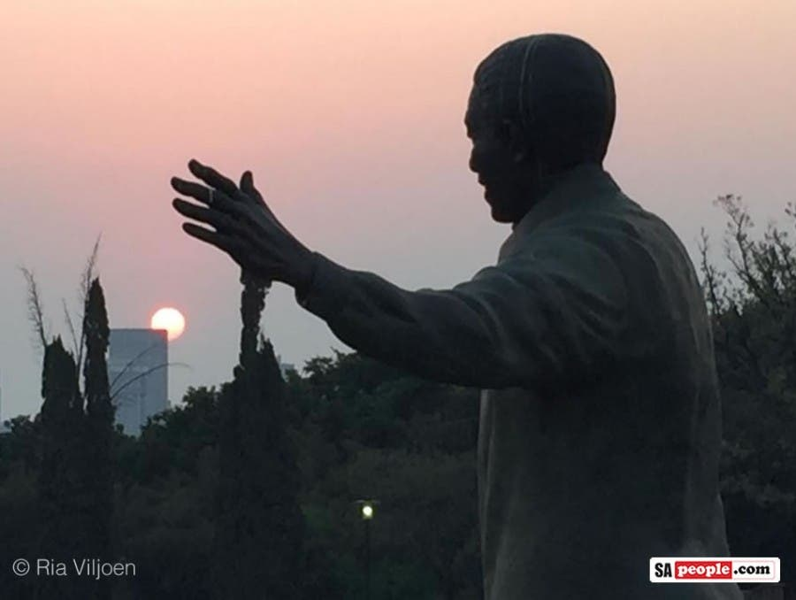 South African sunset, Nelson Mandela statue, Union Building