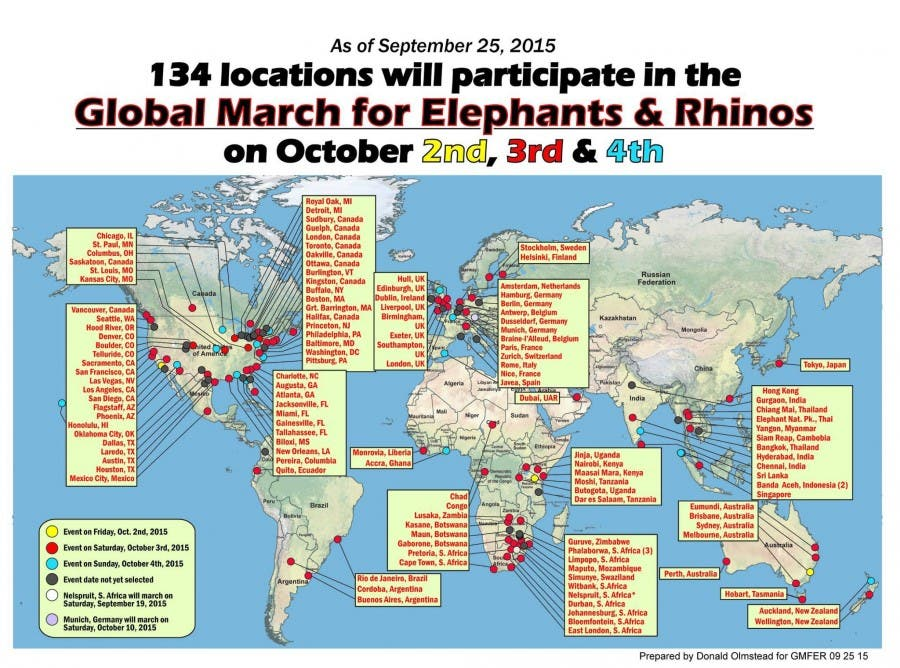 Rhino Elephant march locations
