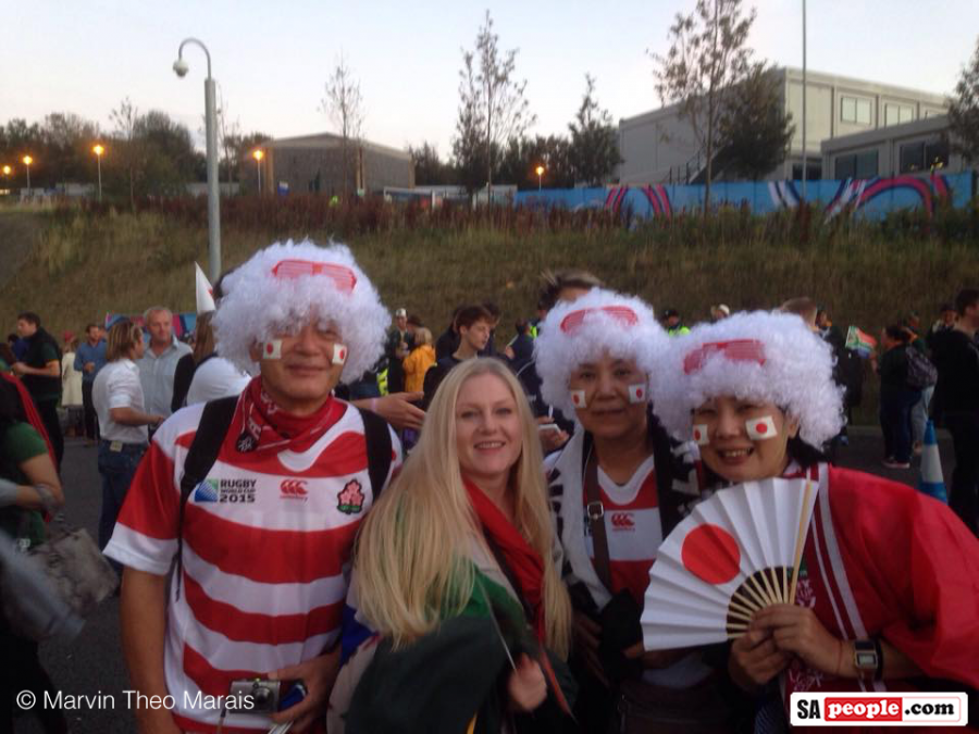 Springbok and Japan rugby world cup fans