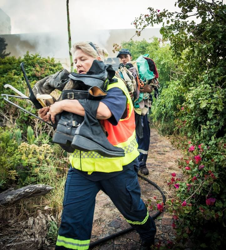 Carrying belongings from fire