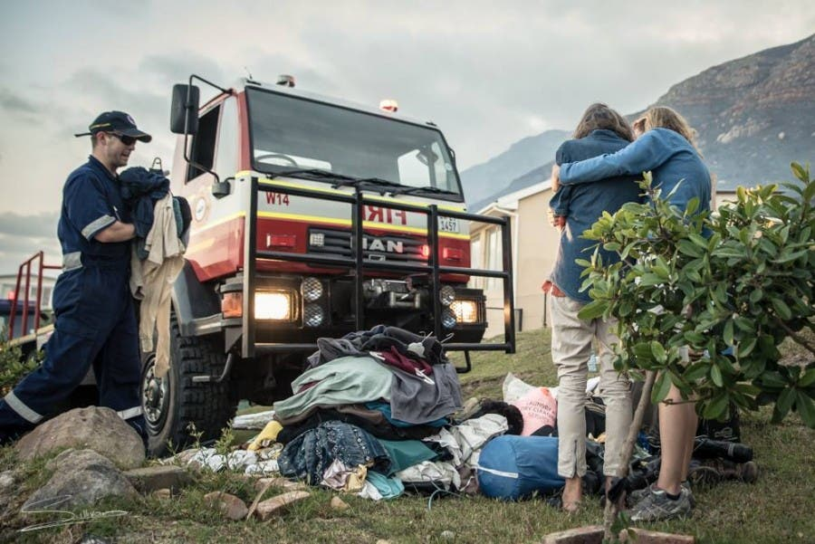 Fire victims with belongings