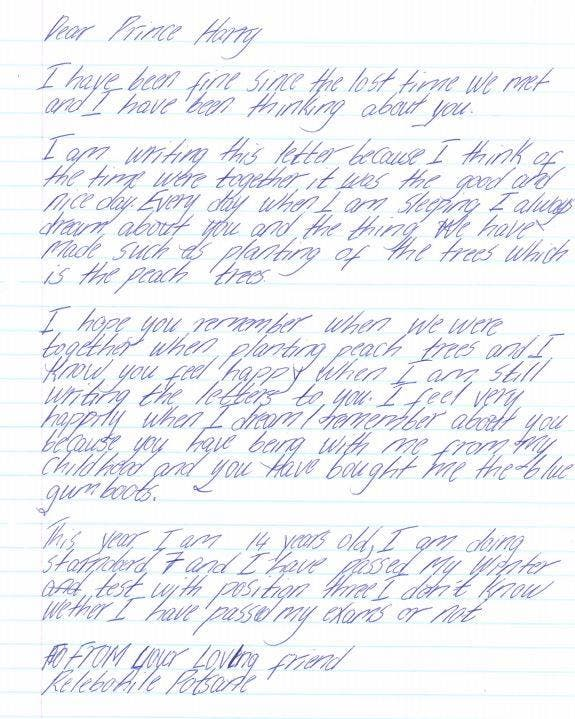 Prince Harry letter