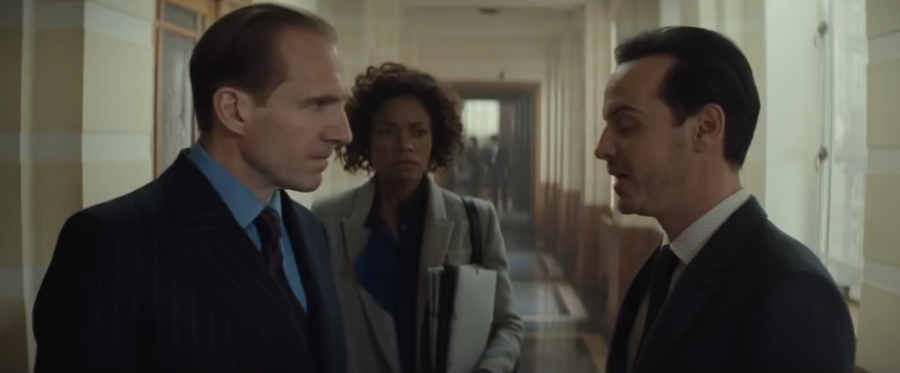Ralph Fiennes as M, Naomi Harris as Moneypenny and a new character behind Nine Eyes, C (played by Andrew Scott).