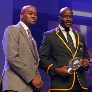 JOHANNESBURG, SOUTH AFRICA - FEBRUARY 08: SuperSport Try of the Year, Oupa Mohoja during the SA Rugby Player of the Year Awards at Vodaworld on February 08, 2015 in Johannesburg, South Africa. (Photo by Lee Warren/Gallo Images)