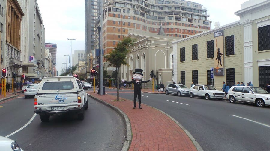 Mr. Monopoly on Adderly Street, Cape Town. Source: Monopoly Cape Town Facebook page.