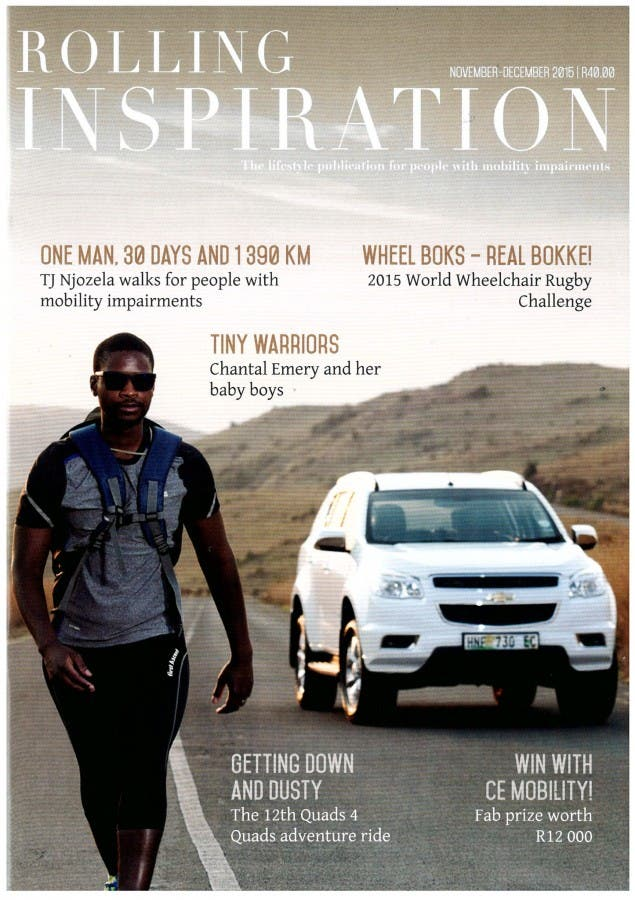 TJ walking on magazine