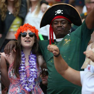CAPE TOWN, SOUTH AFRICA - DECEMBER 13: Fans during day 2 of the HSBC Cape Town Sevens in the game between Kenya and USA at Cape Town Stadium on December 13, 2015 in Cape Town, South Africa. (Photo by Carl Fourie/Gallo Images)