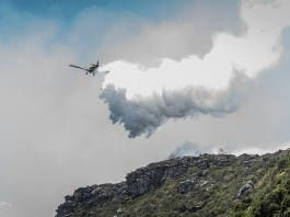 Aeroplane with fire