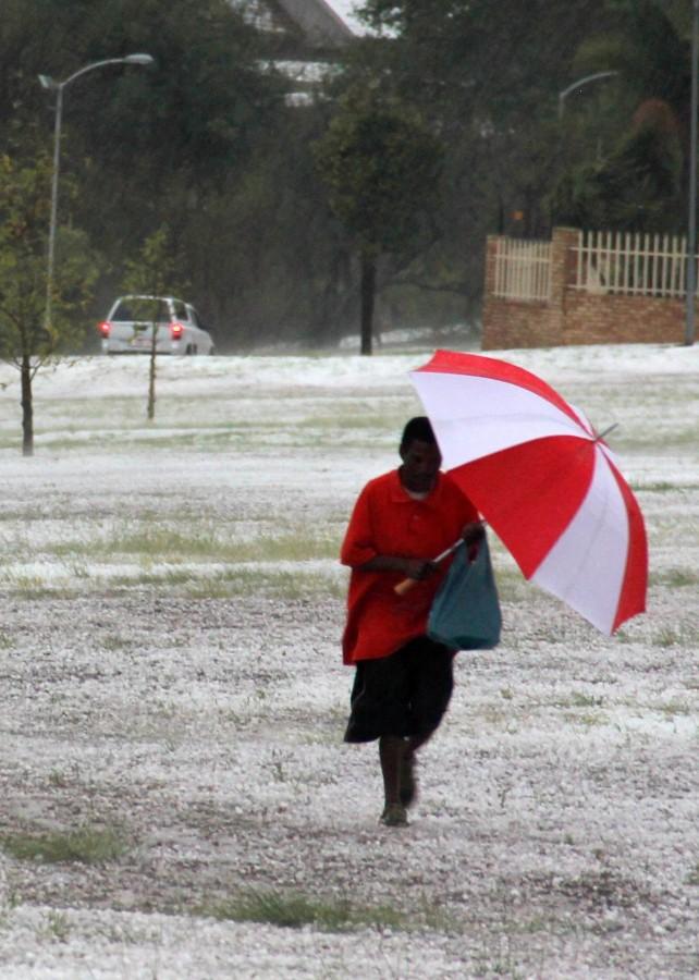 Umbrella in hail