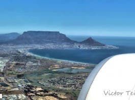 Plane flying over Cape Town