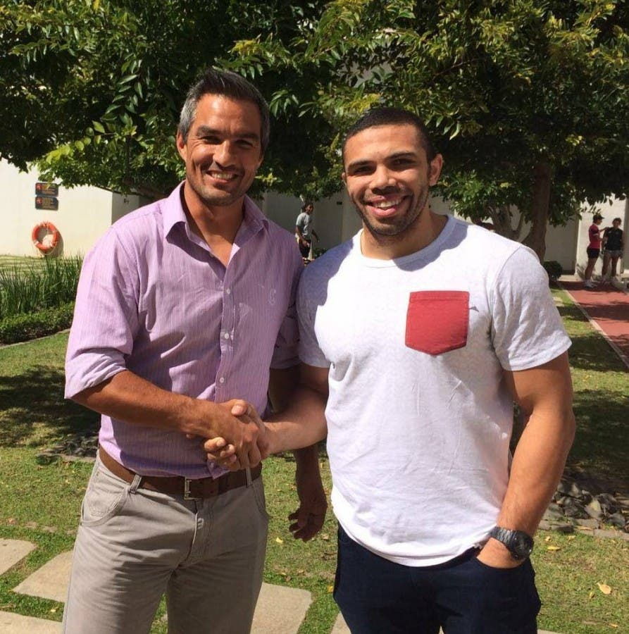 Happiness all around as @BryanHabana joins @BlitzBoks at @sas_training_za in Stellenbosch @neil5powell ‪#‎bringtheheat‬