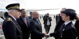 President Zuma arrives in France