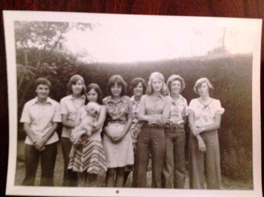 Jill on far left, Di, third from right, 14 years old!! 1974