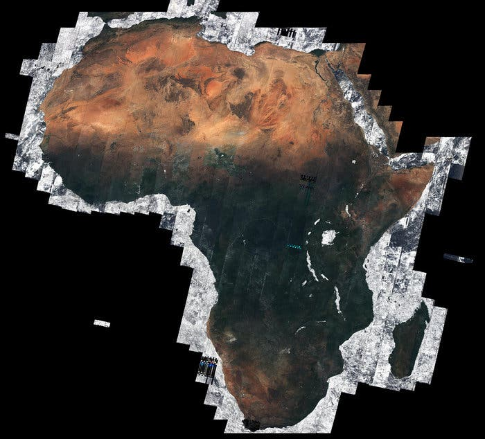 Map Of Africa From Space.Rare Mosaic Image Of Africa Without Clouds Taken From Space