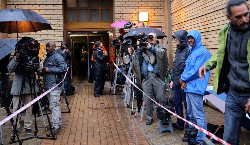 Members of the media wait for the arrival of former Paralympian Oscar Pistorius, to be sentenced for murder of his girlfriend, Reeva Steenkamp at the Pretoria High Court, South Africa June 13,2016. REUTERS/Siphiwe Sibeko