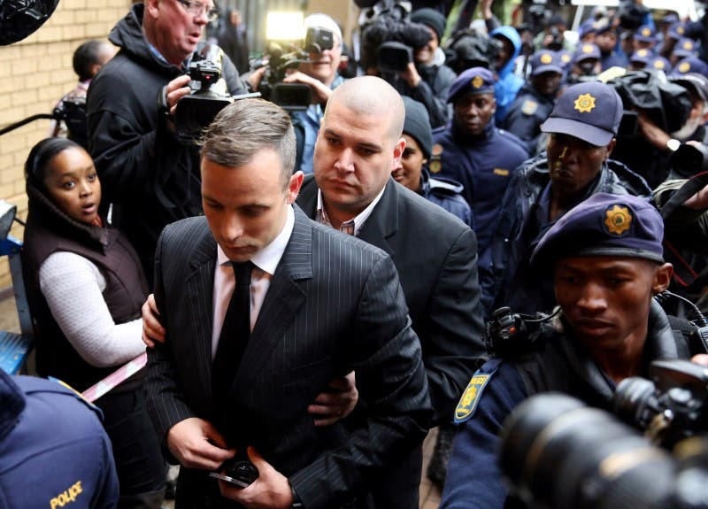 Former Paralympian Oscar Pistorius arrives to be sentenced for murder of his girlfriend Reeva Steenkamp at the Pretoria High Court, South Africa June 13,2016. REUTERS/Siphiwe Sibeko
