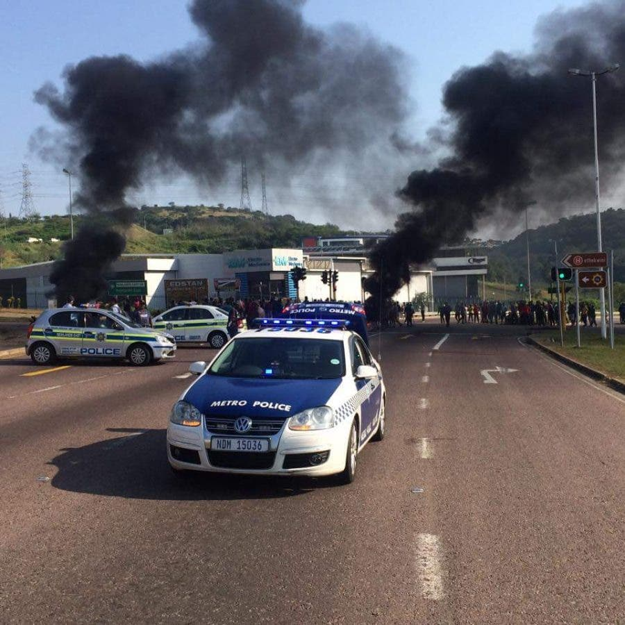 Police in Durban at burnings