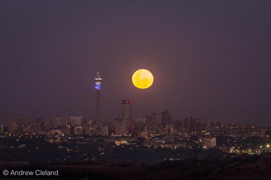 Winter Solstice moon over Joburg, South Africa