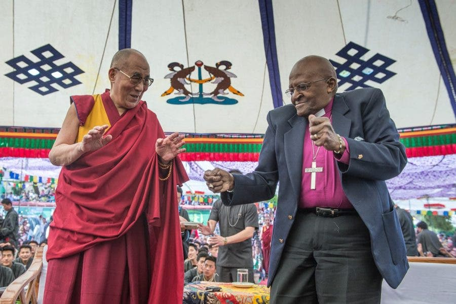 Archbishop Tutu and the Dalai Lama last year. Source: FB/DesmondTutu