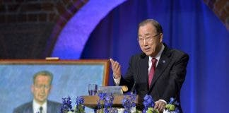 UN Secretary General Ban Ki-moon holds a speech in honor of Dag Hammarskjold at the City Hall in Stockholm