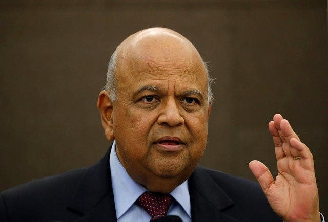 South African Finance Minister Pravin Gordhan reacts during a media briefing in Sandton near Johannesburg March 14, 2016. REUTERS/Siphiwe Sibeko/File Photo