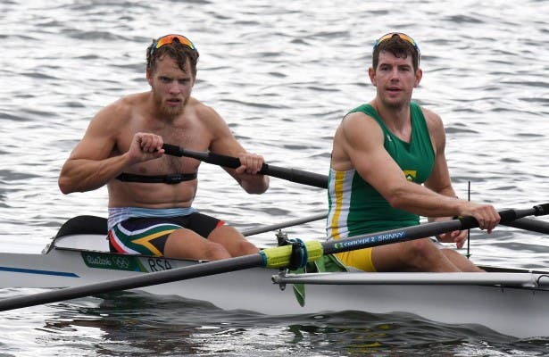 RIO DE JANEIRO, BRAZIL. 31 JULY 2016. Lawrence Brittain, left and Shaun Keeling during the training session of the rowers of Team SA at the Lagoa Rodrigo de Freitas rowing venue in Rio de Janeiro today. Copyright picture by WESSEL OOSTHUIZEN / SASPA