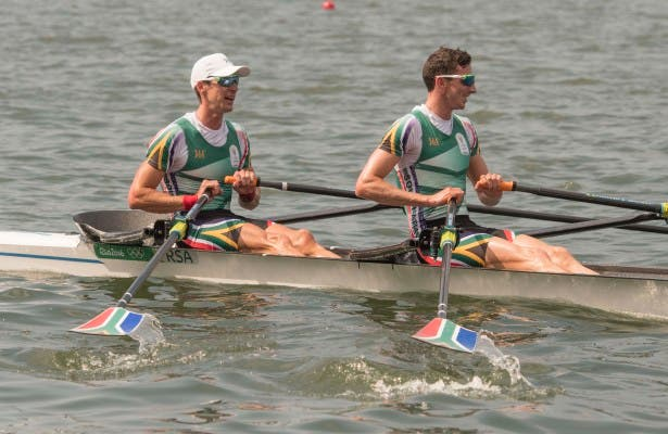James Thompson and John Smith in the Rowing race 49 LW2X SA heat 4 on Monday August 08, 2016 in Rio, Brazil.  ©Christiaan Kotze/SASPA