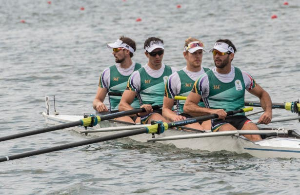 Jake Milton Green, Vincent Breet, John Smith and David Hunt in the Rowing race 52 Men's Four SA heat 4 on Monday August 08, 2016 in Rio, Brazil. ©Christiaan Kotze/SASPA