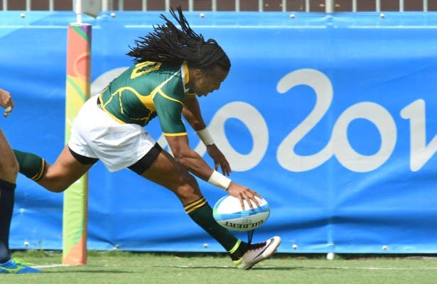 RIO DE JANEIRO, BRAZIL .9 AUGUST 2016. Cecil Afrika scors South Africa's irst try at the Olympic Games during the Sevens Rugby match against Spain at the Deodora Stadium in the Deodora Olympic Park at the Rio 2016 Olympic Games today. Copyright picture by WESSEL OOSTHUIZEN / SASPA