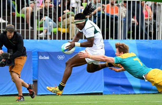 RIO DE JANEIRO, BRAZIL. 10 AUGUST 2016. Seabelo Senatla during South Africa's match against Australia at the Deodora Stadium at the Rio 2016 Olympic Games today. Copyright picture by WESSEL OOSTHUIZEN / SASPA