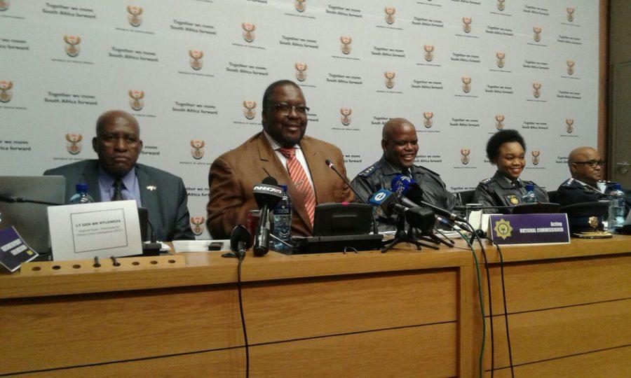 Source: Twitter/SAPS - Min of Police Mr #Nhleko & Acting NPC Lt Gen #Phahlane addressing media in parliament