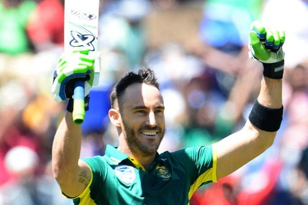 JOHANNESBURG, SOUTH AFRICA - OCTOBER 02: Faf du Plessis of the Proteas celebrates his 100 runs during the 2nd Momentum ODI Series match between South Africa and Australia at Bidvest Wanderers Stadium on October 02, 2016 in Johannesburg, South Africa. (Photo by Lee Warren/Gallo Images)
