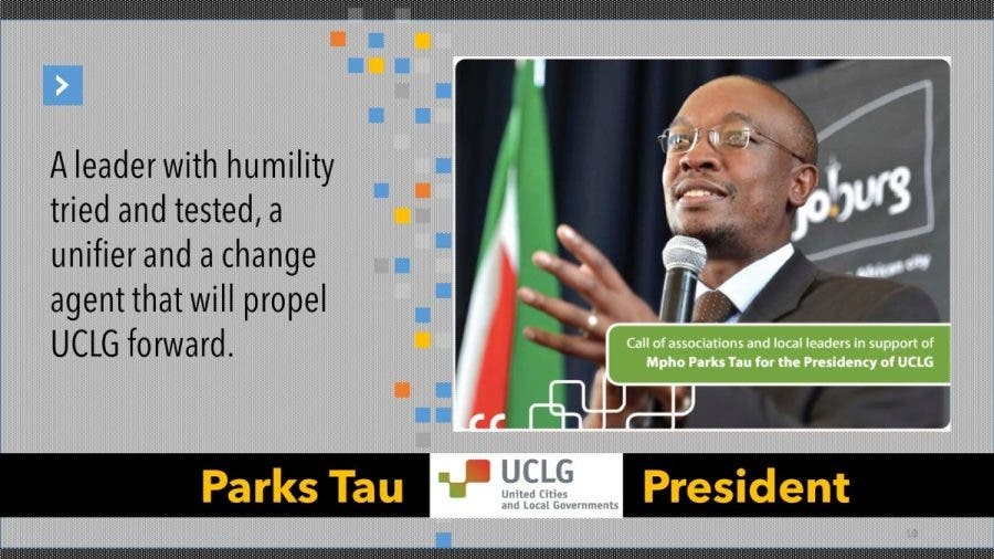 Former joburg mayor parks tau elected president of top world body congratulations to johannesburgs former mayor parks tau who has been appointed president of world body united cities and local governments uclg thecheapjerseys Choice Image